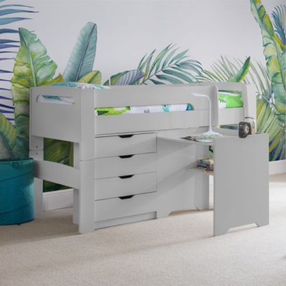 An Image of Pluto Dove Grey Bunk Bed With Chest Of Drawers And Study Desk