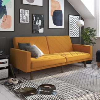An Image of Paxson Linen Sofa Bed In Mustard With Wooden Feets