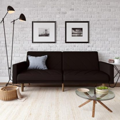 An Image of Paxson Linen Sofa Bed In Black With Wooden Feets