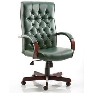 An Image of Chesterfield Leather Office Chair In Green With Arms