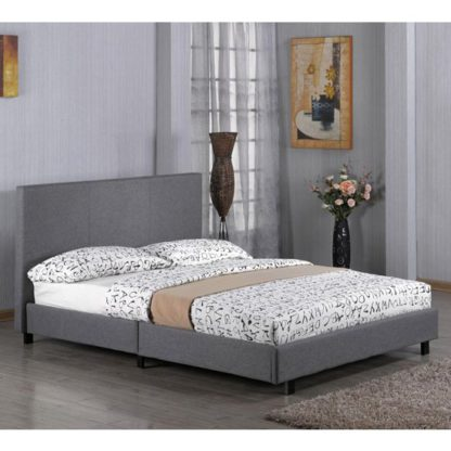 An Image of Fusion Linen Fabric Single Bed In Grey