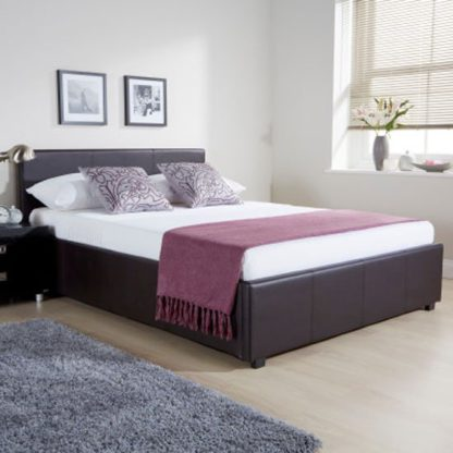 An Image of Side Lift Ottoman Faux Leather Double Bed In Brown