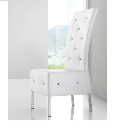 An Image of Asam Studded Faux Leather Dining Room Chair in White