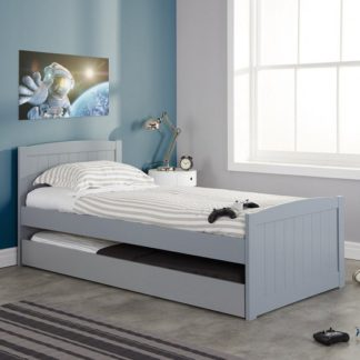 An Image of Barnese Wooden Single Bed In Grey With Pull Out Trundle