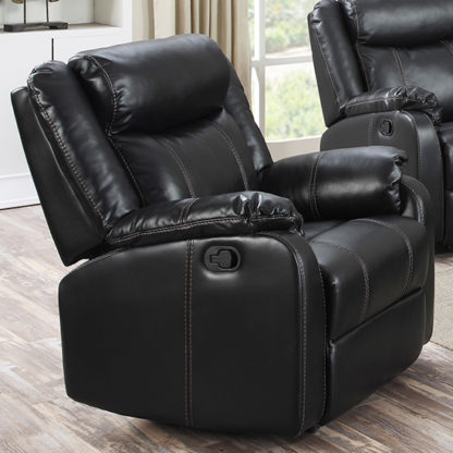 An Image of Leeds LeatherLux And PU Recliner 1 Seater Sofa In Gun Metal