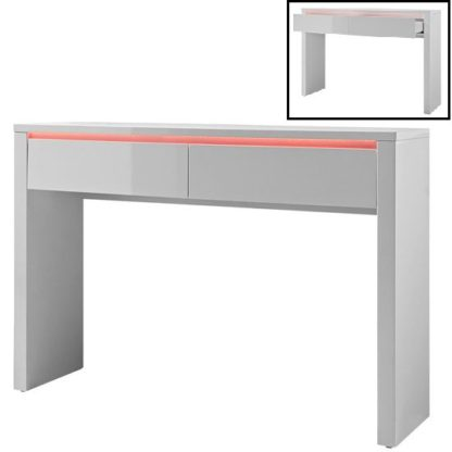 An Image of Chique Console Table In White High Gloss With 2 Drawers And LED