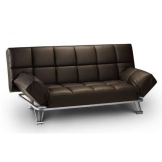 An Image of Arden Sofa Bed In Brown Faux Leather With Steel Frame