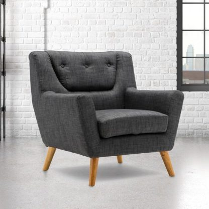 An Image of Stanwell Sofa Chair In Grey Fabric With Wooden Legs