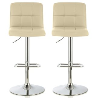 An Image of Lesly Contemporary Bar Stool In Cream Faux Leather In A Pair