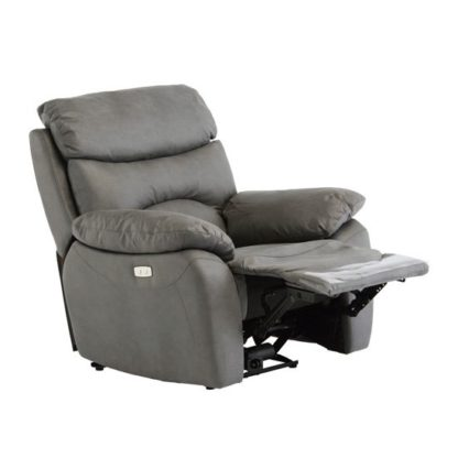 An Image of Layla Fabric Electric Recliner Armchair In Grey