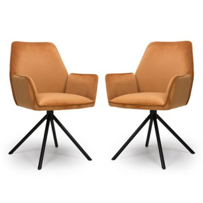 An Image of Uno Burnt Orange Velvet Fabric Dining Chairs In A Pair