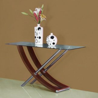 An Image of Gemini Clear Glass Top Console Table In Walnut And Chrome Base
