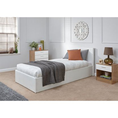 An Image of End Lift Ottoman Single Bed In White