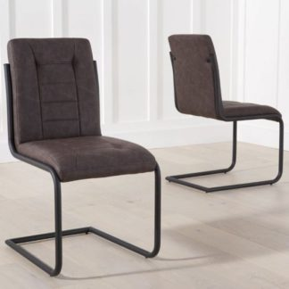 An Image of Columba Brown Dining Chairs In Pair