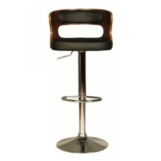 An Image of Alston Bar Stool In Walnut And Black PU With Chrome Base
