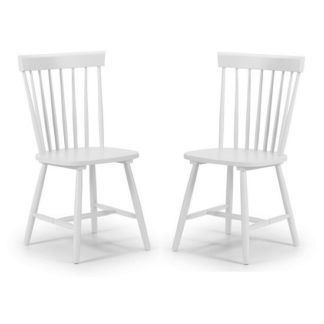 An Image of Snodland Wooden Dining Chair In White Lacquer In A Pair