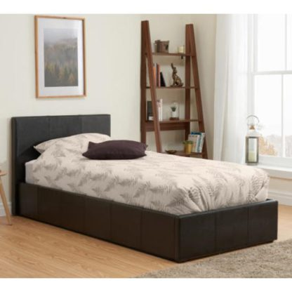 An Image of Berlin Fabric Ottoman Single Bed In Brown