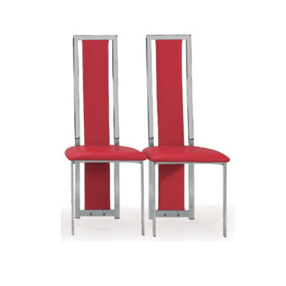 An Image of Nicole Dining Chair In Red Faux Leather in A Pair