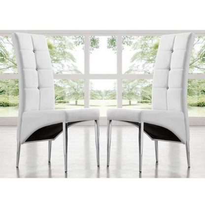 An Image of Vesta Modern Dining Chair In White Faux Leather In A Pair