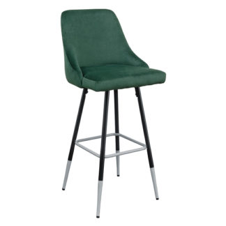 An Image of Fiona Green Fabric Bar Stool With Metal Legs