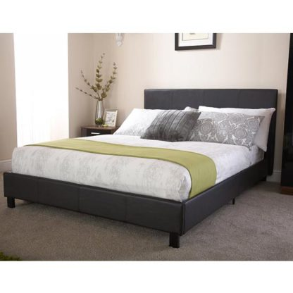 An Image of Alioth Faux Leather Double Bed In Black