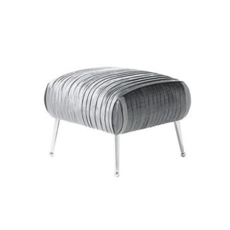 An Image of Marlox Modern Stool Charcoal Velvet With Chrome Legs