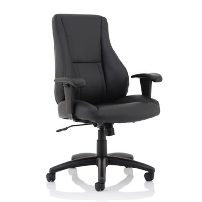 An Image of Winsor Leather Office Chair In Black With No Headrest