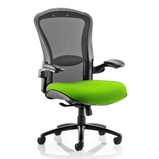 An Image of Houston Heavy Black Back Office Chair With Myrrh Green Seat