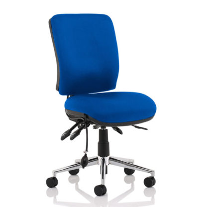 An Image of Chiro Fabric Medium Back Office Chair In Blue No Arms
