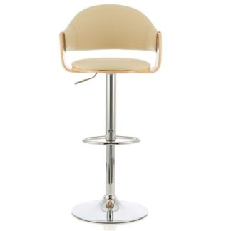 An Image of Emden Bar Stool In Oak And Cream PU With Chrome Base