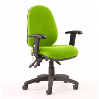 An Image of Luna II Office Chair In Myrrh Green With Folding Arms