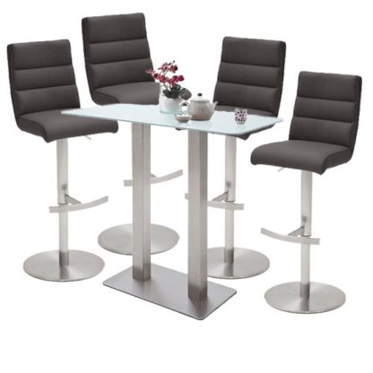 An Image of Soho White Glass Bar Table With 4 Hiulia Anthracite Stools