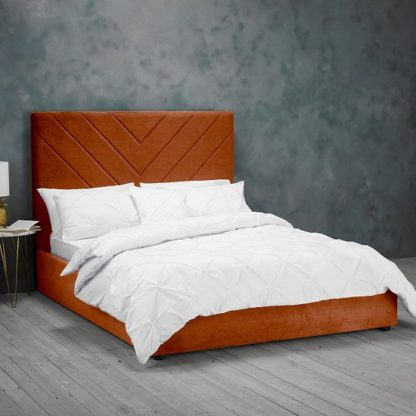 An Image of Islington Double Fabric Bed In Orange
