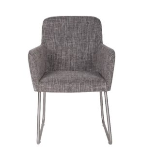 An Image of Elsa Dining Armchair Grey Fabric With Silver Frame