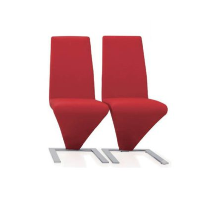 An Image of Demi Z Dining Chairs In Red Faux Leather in A Pair
