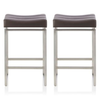 An Image of Leighton Bar Stool In Brown Faux Leather In A Pair