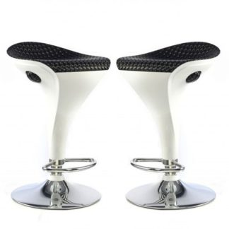 An Image of Welford Bar Stool In Black And White Gloss In A Pair