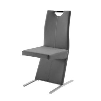 An Image of Image Metal Swinging Grey Faux Leather Dining Chair