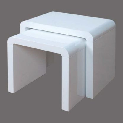 An Image of Norset Modern Set of 2 Nesting Tables In White Gloss