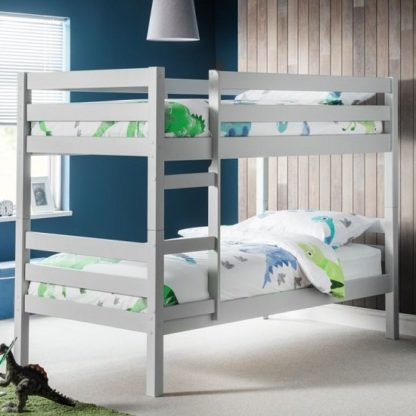 An Image of Winona Wooden Bunk Bed In Dove Grey Lacquer Finish