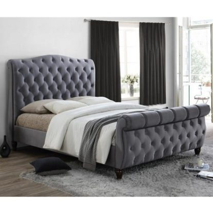 An Image of Tuxford Super King Size Bed In Grey Velvet With Dark Wood Feet