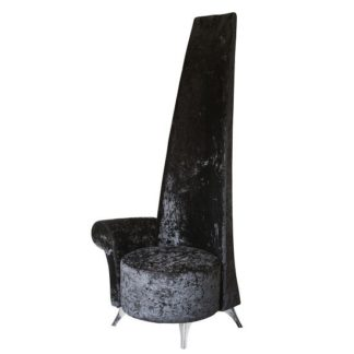 An Image of Aldora Right Handed Potenza Chair In Black Crushed Velvet Fabric