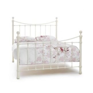 An Image of Ethan Precious Metal Double Bed In Ivory Gloss