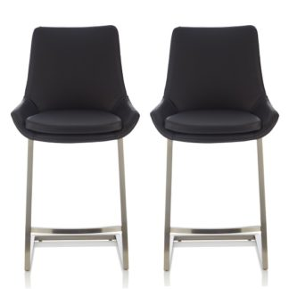 An Image of Rasmus Bar Stool In Black Faux Leather In A Pair