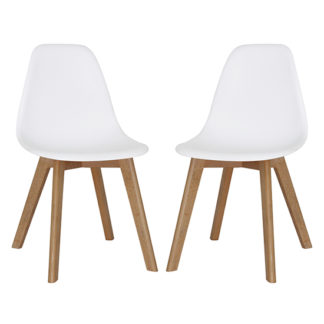 An Image of Canum White Plastic Dining Chairs In Pair With Beech Legs