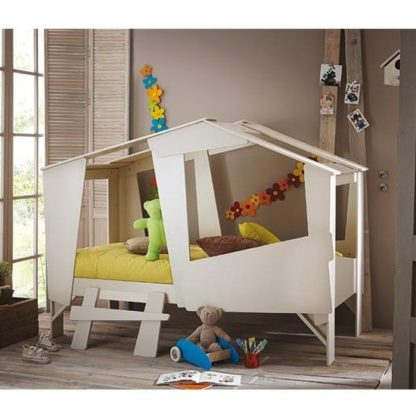 An Image of Annecy Wooden Children Bed In Taupe And Beige