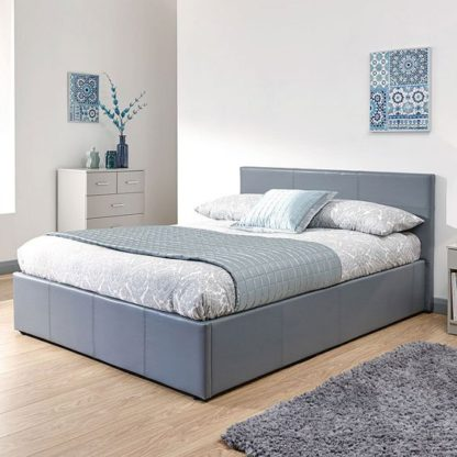 An Image of End Lift Ottoman Faux Leather King Size Bed In Grey