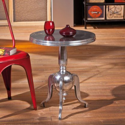 An Image of Nime Shiny Silver Finish Round Shaped Side Table
