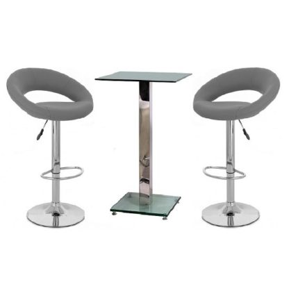 An Image of Spice Bar Table In Clear Glass And 2 Leoni Grey Bar Stools