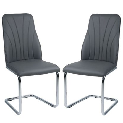 An Image of Irma Dining Chairs In Grey Faux Leather In A Pair